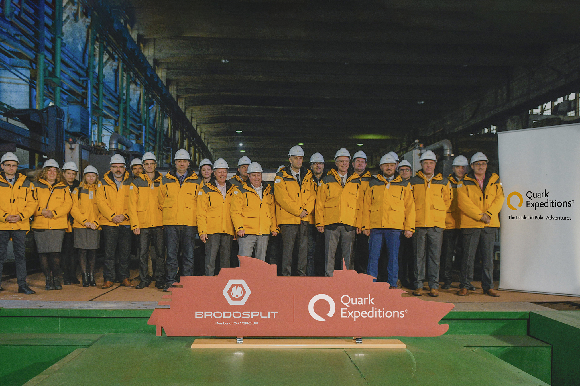 Andrew White, along with the ship building team and executives from Brodosplit, at the steel-cutting ceremony