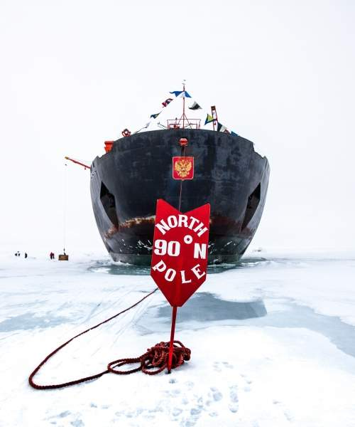Nuclear icebreaker 50 Years of Victory parked in the sea ice after reaching the geographic North Pole at 90°N - Photo by Dr. Sam Crimmin