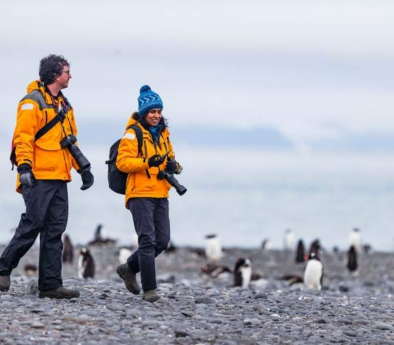 Two passengers hiking amongst penguins