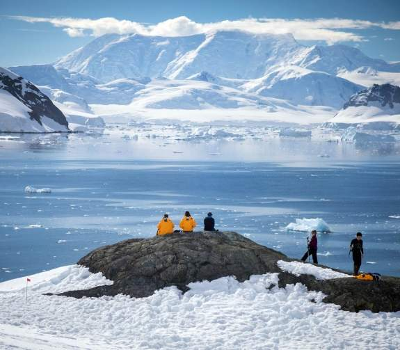 Passengers enjoying the view in the Antarctic